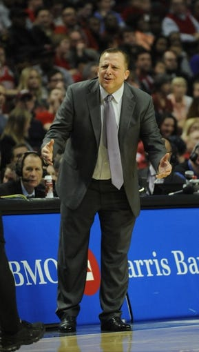 Apr 17, 2013; Chicago, IL, USA; Chicago Bulls head coach Tom Thibodeau coaches against the Washington Wizards during the second half at the United Center. Chicago Bulls defeated the Washington Wizards 95-92. Mandatory Credit: David Banks-USA TODAY Sports