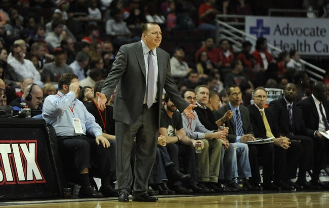 Apr 17, 2013; Chicago, IL, USA; Chicago Bulls head coach Tom Thibodeau coaches against the Washington Wizards during the second half at the United Center. The Chicago Bulls defeated the Washington Wizards 95-92. Mandatory Credit: David Banks-USA TODAY Sports