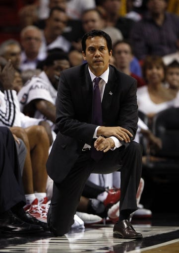 Apr 17, 2013; Miami, FL, USA;  Miami Heat head coach Erik Spoelstra in the second half of a game against the Orlando Magic at the American Airlines Arena. The Heat won 105-93.  Mandatory Credit: Robert Mayer-USA TODAY Sports