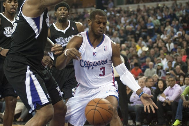 Apr 17, 2013; Sacramento, CA, USA; Los Angeles Clippers point guard Chris Paul (3) loses control of the ball during the first quarter against the Sacramento Kings at the Sleep Train Arena. Mandatory Credit: Ed Szczepanski-USA TODAY Sports