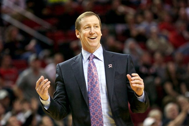 April 17, 2013; Portland, OR, USA; Portland Trail Blazers head coach Terry Stotts reacts in the second half against Golden State Warriors at the Rose Garden.  Mandatory Credit: Jaime Valdez-USA TODAY Sports