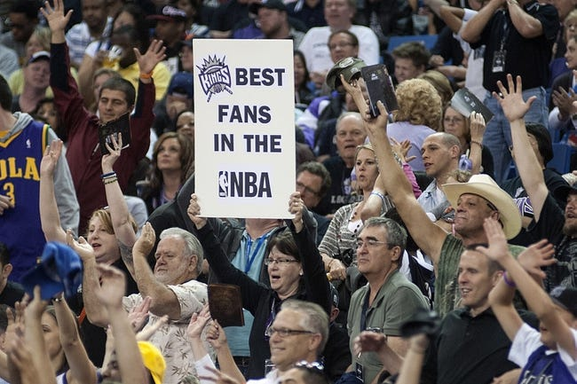 Apr 17, 2013; Sacramento, CA, USA; Sacramento Kings fans hold up a sign during the game against the Los Angeles Clippers at the Sleep Train Arena. The Los Angeles Clippers defeated the Sacramento Kings 112-108. Mandatory Credit: Ed Szczepanski-USA TODAY Sports