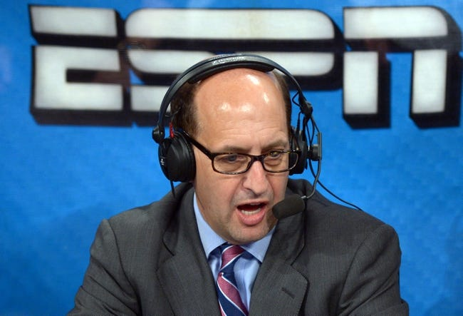 Apr 17, 2013; Los Angeles, CA, USA; ESPN broadcaster Jeff Van Gundy during the NBA game between the Houston Rockets and the Los Angeles Lakers at the Staples Center. Mandatory Credit: Kirby Lee-USA TODAY Sports