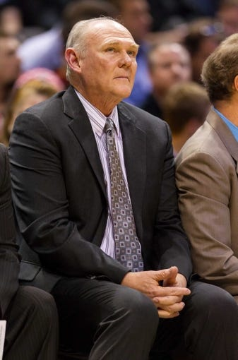Apr 15, 2013; Milwaukee, WI, USA;  Denver Nuggets head coach George Karl looks on during the game against the Milwaukee Bucks at the BMO Harris Bradley Center.  Denver won 112-111.  Mandatory Credit: Jeff Hanisch-USA TODAY Sports