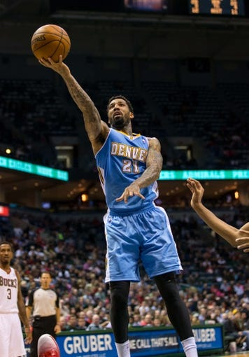 Apr 15, 2013; Milwaukee, WI, USA;  Denver Nuggets guard Wilson Chandler (21) during the game against the Milwaukee Bucks at the BMO Harris Bradley Center.  Denver won 112-111.  Mandatory Credit: Jeff Hanisch-USA TODAY Sports