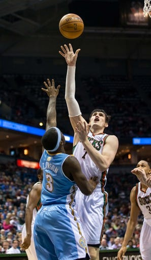 Apr 15, 2013; Milwaukee, WI, USA;  Milwaukee Bucks forward Ersan Ilyasova (7) during the game against the Denver Nuggets at the BMO Harris Bradley Center.  Denver won 112-111.  Mandatory Credit: Jeff Hanisch-USA TODAY Sports