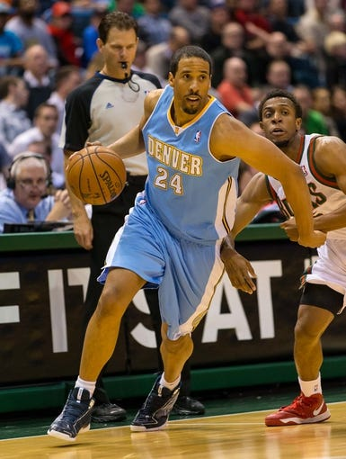 Apr 15, 2013; Milwaukee, WI, USA;  Denver Nuggets guard Andre Miller (24) during the game against the Milwaukee Bucks at the BMO Harris Bradley Center.  Denver won 112-111.  Mandatory Credit: Jeff Hanisch-USA TODAY Sports