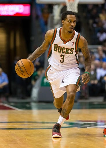 Apr 15, 2013; Milwaukee, WI, USA;  Milwaukee Bucks guard Brandon Jennings (3) during the game against the Denver Nuggets at the BMO Harris Bradley Center.  Denver won 112-111.  Mandatory Credit: Jeff Hanisch-USA TODAY Sports