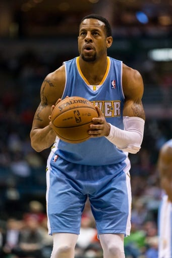 Apr 15, 2013; Milwaukee, WI, USA;  Denver Nuggets guard Andre Iguodala (9) during the game against the Milwaukee Bucks at the BMO Harris Bradley Center.  Denver won 112-111.  Mandatory Credit: Jeff Hanisch-USA TODAY Sports