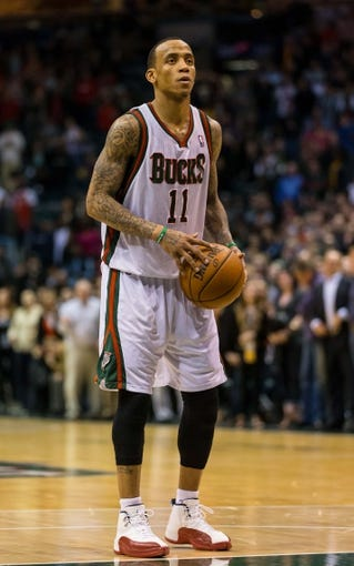 Apr 15, 2013; Milwaukee, WI, USA;  Milwaukee Bucks guard Monta Ellis (11) during the game against the Denver Nuggets at the BMO Harris Bradley Center.  Denver won 112-111.  Mandatory Credit: Jeff Hanisch-USA TODAY Sports
