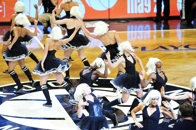 Apr 20, 2013; Brooklyn, NY, USA; The Brooklynettes perform during the second half against the Chicago Bulls of game one of the first round of the 2013 NBA Playoffs at the Barclays Center. The Nets won the game 106-89. Mandatory Credit: Joe Camporeale-USA TODAY Sports