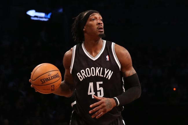 Apr 20, 2013; Brooklyn, NY, USA; Brooklyn Nets small forward Gerald Wallace (45) during the third quarter against the Chicago Bulls in game one of the first round of the 2013 NBA Playoffs at the Barclays Center. Brooklyn won106-89.  Mandatory Credit: Anthony Gruppuso-USA TODAY Sports