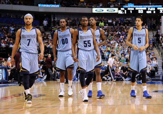 Apr 15, 2013; Dallas, TX, USA; Memphis Grizzlies point guard Jerryd Bayless (7) and power forward Darrell Arthur (00) and point guard Keyon Dooling (55) and power forward Austin Daye (5) and power forward Ed Davis (32) take the court to face the Dallas Mavericks at the American Airlines Center. Mandatory Credit: Jerome Miron-USA TODAY Sports
