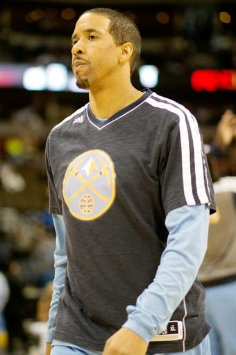 Apr 14, 2013; Denver, CO, USA; Denver Nuggets guard Andre Miller (24)  before the first half against the Portland Trailblazers at the Pepsi Center. Mandatory Credit: Chris Humphreys-USA TODAY Sports