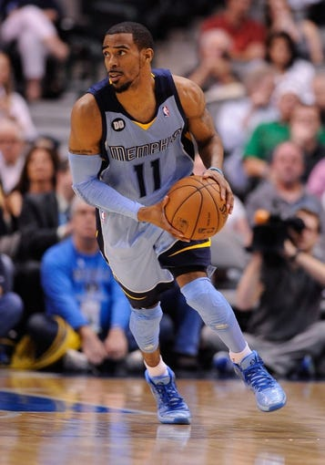 Apr 15, 2013; Dallas, TX, USA; Memphis Grizzlies point guard Mike Conley (11) passes the ball during the game against the Dallas Mavericks at the American Airlines Center. Mandatory Credit: Jerome Miron-USA TODAY Sports