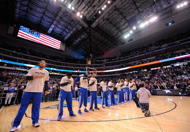 Apr 10, 2013; Dallas, TX, USA; The Dallas Mavericks prepare to face the Phoenix Suns at the American Airlines Center. The Suns defeated the Mavericks 102-91. Mandatory Credit: Jerome Miron-USA TODAY Sports