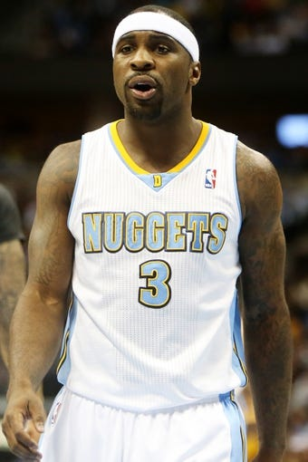 Apr 14, 2013; Denver, CO, USA; Denver Nuggets guard Ty Lawson (3)  during the first half against the Portland Trailblazers at the Pepsi Center. Mandatory Credit: Chris Humphreys-USA TODAY Sports