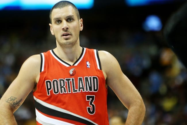 Apr 14, 2013; Denver, CO, USA; Portland Trailblazers guard Sasha Pavlovic (3) during the first half against the Denver Nuggets at the Pepsi Center. Mandatory Credit: Chris Humphreys-USA TODAY Sports