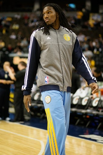 Apr 14, 2013; Denver, CO, USA; Denver Nuggets forward Kenneth Faried (35)  warms up before the first half against the Portland Trailblazers at the Pepsi Center. Mandatory Credit: Chris Humphreys-USA TODAY Sports