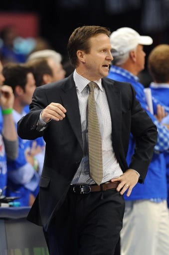 Apr 24, 2013; Oklahoma City, OK, USA; Oklahoma City Thunder head coach Scott Brooks reacts to a play action against the Houston Rockets in the second half during game two of the first round of the 2013 NBA Playoffs at Chesapeake Energy Arena. Mandatory Credit: Mark D. Smith-USA TODAY Sports