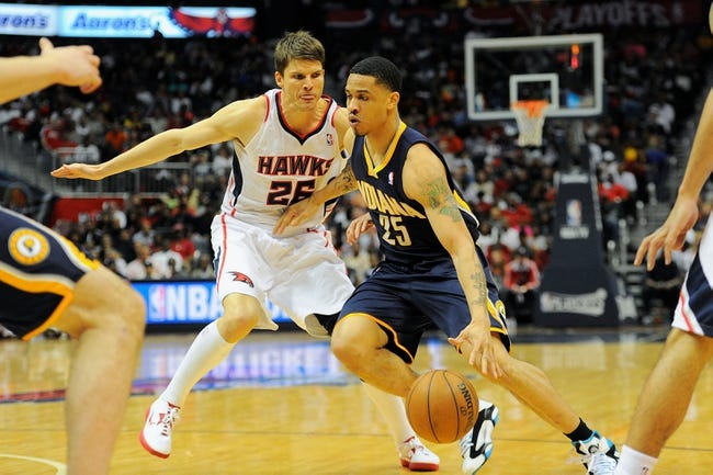 Apr 27, 2013; Atlanta, GA, USA; Indiana Pacers small forward Gerald Green (25) works against Atlanta Hawks small forward Kyle Korver (26) during the second half of game three of the first round of the 2013 NBA playoffs at Philips Arena. The Hawks defeated the Pacers, 90-69. Mandatory Credit: Dale Zanine-USA TODAY Sports