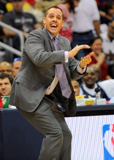Apr 27, 2013; Atlanta, GA, USA; Indiana Pacers head coach Frank Vogel reacts after a play during the second half against the Atlanta Hawks in game three in the first round of the 2013 NBA playoffs at Philips Arena. The Hawks defeated the Pacers, 90-69. Mandatory Credit: Dale Zanine-USA TODAY Sports