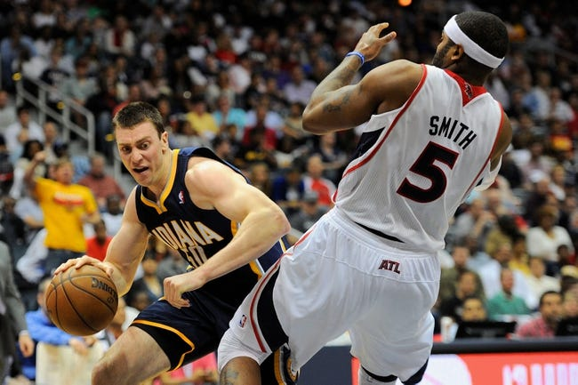 Apr 27, 2013; Atlanta, GA, USA; Indiana Pacers power forward Tyler Hansbrough (50) collides with Atlanta Hawks small forward Josh Smith (5) during the second half of game three of the first round of the 2013 NBA playoffs at Philips Arena.The Hawks defeated the Pacers 90-69. Mandatory Credit: Dale Zanine-USA TODAY Sports