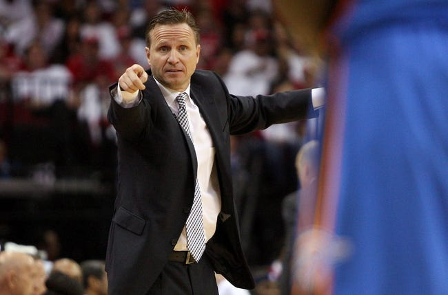 Apr 27, 2013; Houston, TX, USA; Oklahoma City Thunder head coach Scott Brooks coaches from the sideline during the second quarter against the Houston Rockets during game three in the first round of the 2013 NBA playoffs at the Toyota Center. Mandatory Credit: Troy Taormina-USA TODAY Sports