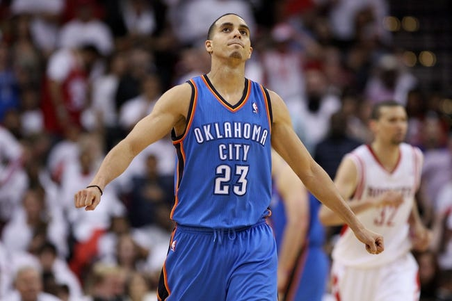 Apr 27, 2013; Houston, TX, USA; Oklahoma City Thunder shooting guard Kevin Martin (23) reacts after a play during the fourth quarter against the Houston Rockets in game three of the first round of the 2013 NBA playoffs at the Toyota Center. The Thunder defeated the Rockets 104-101. Mandatory Credit: Troy Taormina-USA TODAY Sports