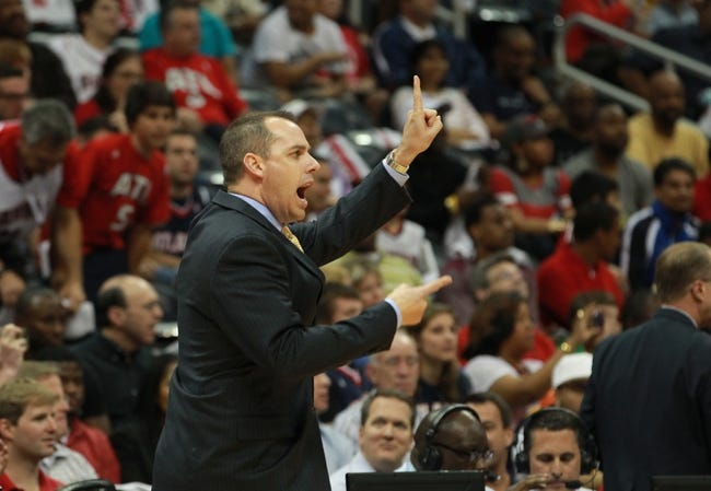 Apr 29, 2013; Atlanta, GA, USA; Indiana Pacers head coach Frank Vogel in game four of the first round of the 2013 NBA playoffs at Philips Arena. Mandatory Credit: Marvin Gentry-USA TODAY Sports
