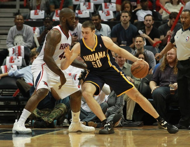 Apr 29, 2013; Atlanta, GA, USA; Indiana Pacers forward Tyler Hansbrough (50) drives to the basket against Atlanta Hawks forward Ivan Johnson (44) in game four of the first round of the 2013 NBA playoffs at Philips Arena. Mandatory Credit: Marvin Gentry-USA TODAY Sports