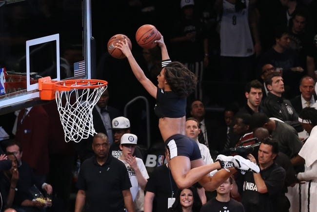 Apr 29, 2013; Brooklyn, NY, USA; Brooklynettes Dunking Diva's perform during the game between the Brooklyn Nets and the Chicago Bulls in game five of the first round of the 2013 NBA playoffs at the Barclays Center. Brooklyn won 110-91.  Mandatory Credit: Anthony Gruppuso-USA TODAY Sports