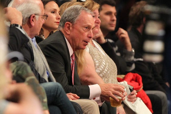 Apr 29, 2013; Brooklyn, NY, USA; New York City mayor Michael Bloomberg watches the action between the Brooklyn Nets and the Chicago Bulls during the fourth quarter of game five of the first round of the 2013 NBA playoffs at the Barclays Center. Mandatory Credit: Brad Penner-USA TODAY Sports