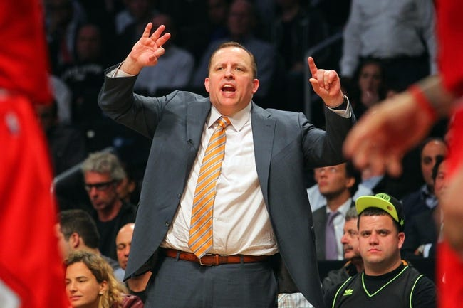 Apr 29, 2013; Brooklyn, NY, USA; Chicago Bulls head coach Tom Thibodeau calls out to his team during the fourth quarter of game five of the first round of the 2013 NBA playoffs against the Brooklyn Nets at the Barclays Center. Mandatory Credit: Brad Penner-USA TODAY Sports