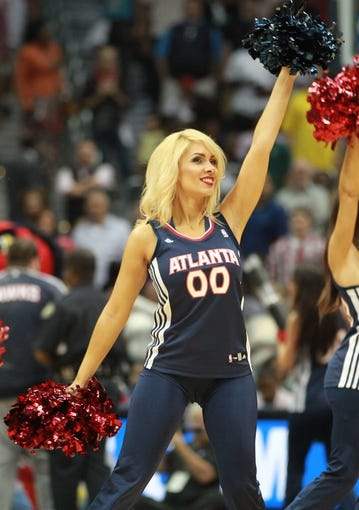 Apr 29, 2013; Atlanta, GA, USA; Atlanta Hawks cheerleader during game four of the first round of the 2013 NBA playoffs at Philips Arena. Mandatory Credit: Marvin Gentry-USA TODAY Sports