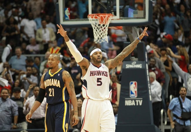 Apr 29, 2013; Atlanta, GA, USA; Atlanta Hawks forward Josh Smith (5) reacts after he scored late in game four of the first round of the 2013 NBA playoffs at Philips Arena. Mandatory Credit: Marvin Gentry-USA TODAY Sports