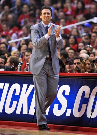 Apr 30, 2013; Los Angeles, CA, USA; Los Angeles Clippers head coach Vinny Del Negro on the sidelines during the loss to the Memphis Grizzlies in game five of the first round of the 2013 NBA Playoffs at the Staples Center. Mandatory Credit: Robert Hanashiro-USA TODAY Sports