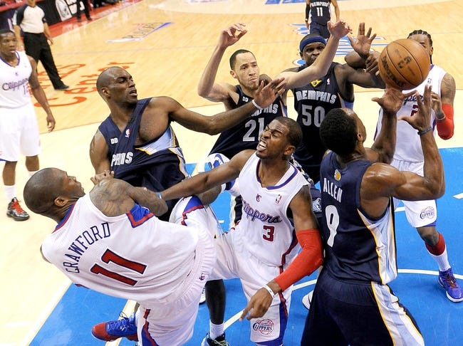 Apr 30, 2013; Los Angeles, CA, USA;  Memphis Grizzlies small forward Quincy Pondexter (20), small forward Tayshaun Prince (21), power forward Zach Randolph (50), shooting guard Tony Allen (9) along with Los Angeles Clippers shooting guard Jamal Crawford (11), point guard Chris Paul (3) and center Ronny Turiaf (21) go for a rebound in the second half of the game in the first round of the 2013 NBA Playoffs against the Memphis Grizzlies at the Staples Center. Grizzlies won 103-93. Mandatory Credit: Jayne Kamin-Oncea-USA TODAY Sports