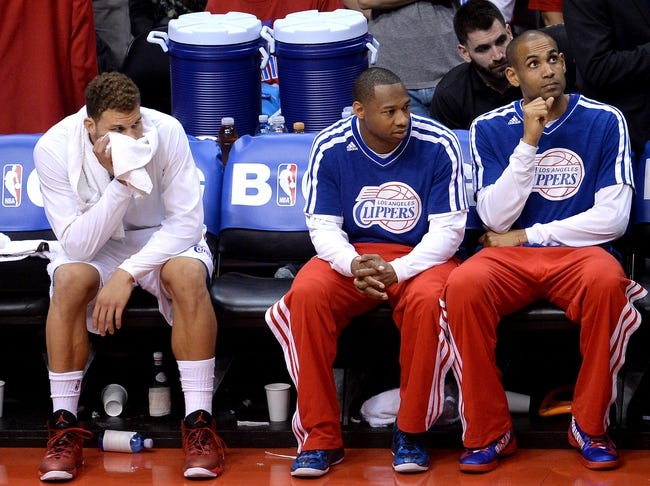 Apr 30, 2013; Los Angeles, CA, USA;  Los Angeles Clippers power forward Blake Griffin (left) , shooting guard Willie Green (middle) and small forward Grant Hill (right) on the bench at the end of game five of the first round of the 2013 NBA Playoffs against the Memphis Grizzlies at the Staples Center. Grizzlies won 103-93. Mandatory Credit: Jayne Kamin-Oncea-USA TODAY Sports