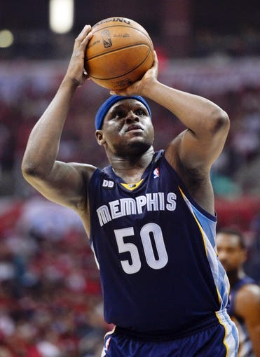Apr 30, 2013; Los Angeles, CA, USA; Memphis Grizzlies power forward Zach Randolph (50) shoots a free-throw during the Grizzlies win over the Los Angeles Clippers in game five of the first round of the 2013 NBA Playoffs at the Staples Center. Mandatory Credit: Robert Hanashiro-USA TODAY Sports