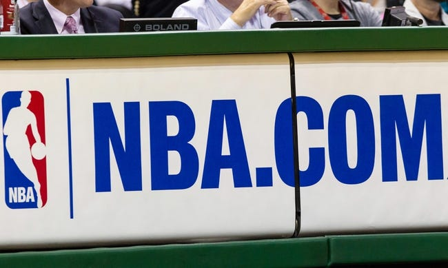 Apr 25, 2013; Milwaukee, WI, USA; The NBA.COM logo is displayed on a  scrolling marquee during game three of the first round of the 2013 NBA playoffs between the Miami Heat and Milwaukee Bucks at BMO Harris Bradley Center.  Miami won 104-91.  Mandatory Credit: Jeff Hanisch-USA TODAY Sports