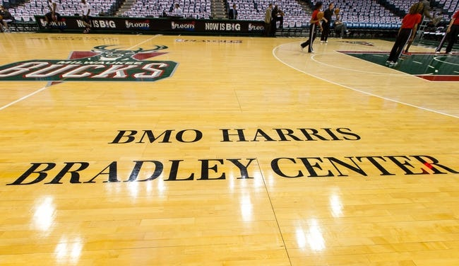 Apr 28, 2013; Milwaukee, WI, USA; The BMO Harris Bradley Center text on the floor of prior to game four of the first round of the 2013 NBA playoffs between the Miami Heat and Milwaukee Bucks at the BMO Harris Bradley Center.  Miami won 88-77.  Mandatory Credit: Jeff Hanisch-USA TODAY Sports
