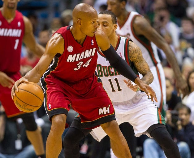 Apr 28, 2013; Milwaukee, WI, USA; Miami Heat guard Ray Allen (34) during game four of the first round of the 2013 NBA playoffs against the Milwaukee Bucks at the BMO Harris Bradley Center.  Miami won 88-77.  Mandatory Credit: Jeff Hanisch-USA TODAY Sports