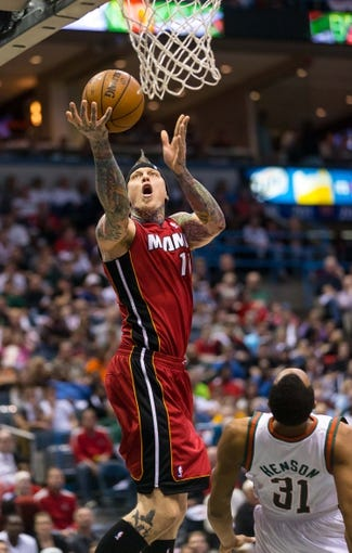 Apr 28, 2013; Milwaukee, WI, USA; Miami Heat forward Chris Andersen (11) during game four of the first round of the 2013 NBA playoffs against the Milwaukee Bucks at the BMO Harris Bradley Center.  Miami won 88-77.  Mandatory Credit: Jeff Hanisch-USA TODAY Sports