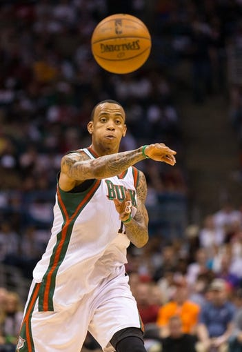 Apr 28, 2013; Milwaukee, WI, USA; Milwaukee Bucks guard Monta Ellis (11) during game four of the first round of the 2013 NBA playoffs against the Miami Heat at the BMO Harris Bradley Center.  Miami won 88-77.  Mandatory Credit: Jeff Hanisch-USA TODAY Sports