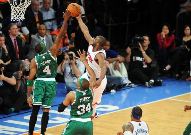 May 1, 2013; New York, NY, USA; Boston Celtics shooting guard Jason Terry (4) blocks a shot by New York Knicks point guard Raymond Felton (2) during the second half in game five of the first round of the 2013 NBA Playoffs at Madison Square Garden. The Celtics won the game 92-86. Mandatory Credit: Joe Camporeale-USA TODAY Sports