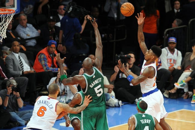 May 1, 2013; New York, NY, USA; New York Knicks small forward Iman Shumpert (21) takes a shot against the Boston Celtics during the second half in game five of the first round of the 2013 NBA Playoffs at Madison Square Garden. The Celtics won the game 92-86. Mandatory Credit: Joe Camporeale-USA TODAY Sports