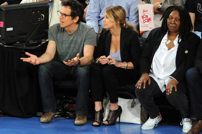 May 1, 2013; New York, NY, USA; American actors Ben Stiller, Christine Taylor, and Whoopi Goldberg look on at the New York Knicks and Boston Celtics game during the first half in game five of the first round of the 2013 NBA Playoffs at Madison Square Garden. Mandatory Credit: Joe Camporeale-USA TODAY Sports