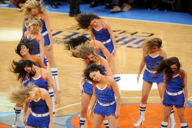 May 1, 2013; New York, NY, USA; Knicks City Dancers perform during the New York Knicks vs Boston Celtics game during the second half in game five of the first round of the 2013 NBA Playoffs at Madison Square Garden. Celtics won the game 92-86. Mandatory Credit: Joe Camporeale-USA TODAY Sports