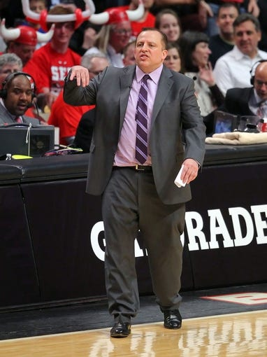 May 2, 2013; Chicago, IL, USA; Chicago Bulls head coach Tom Thibodeau reacts during the second half against the Brooklyn Nets in game six of the first round of the 2013 NBA Playoffs at the United Center. Brooklyn won 95-92. Mandatory Credit: Dennis Wierzbicki-USA TODAY Sports